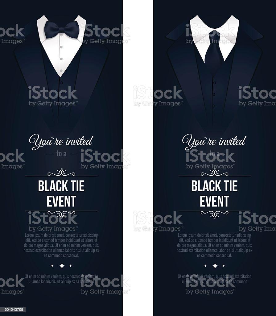 Two vertical Black Tie Event Invitations. vector art illustration