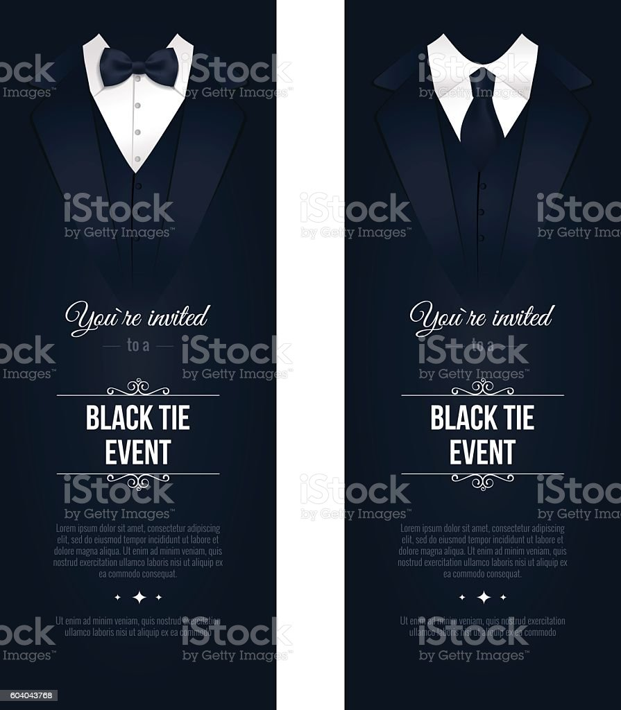 Two vertical Black Tie Event Invitations. vector art illustration