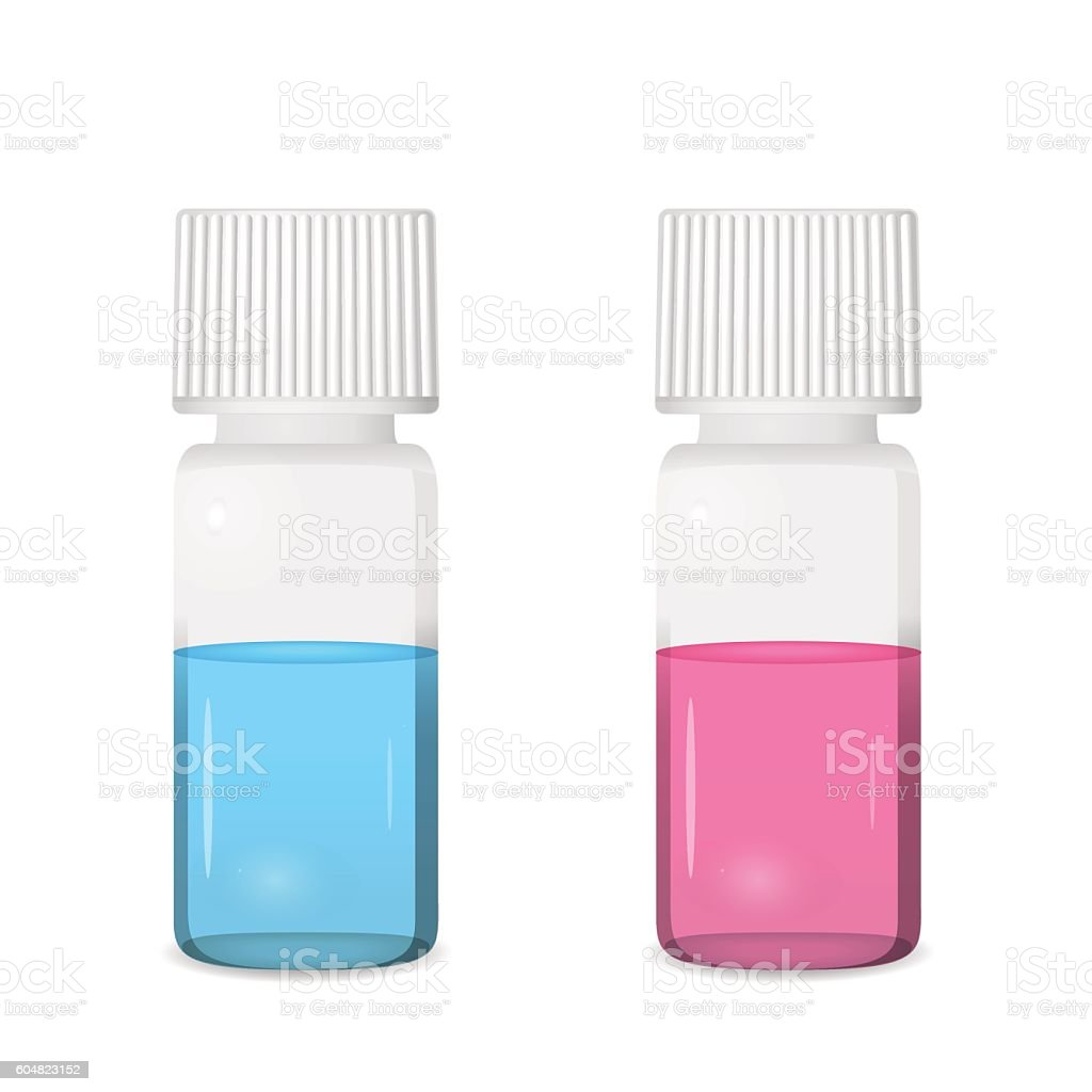 Two vials with colored solutions vector art illustration