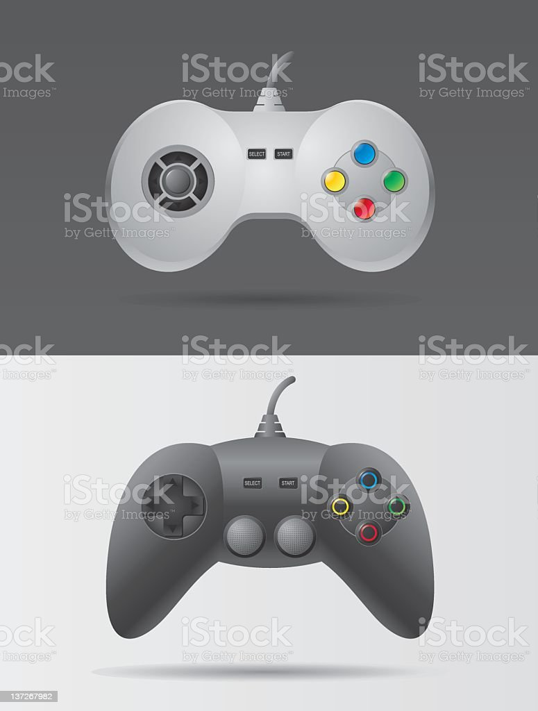 Two video game controllers in black and white royalty-free stock vector art