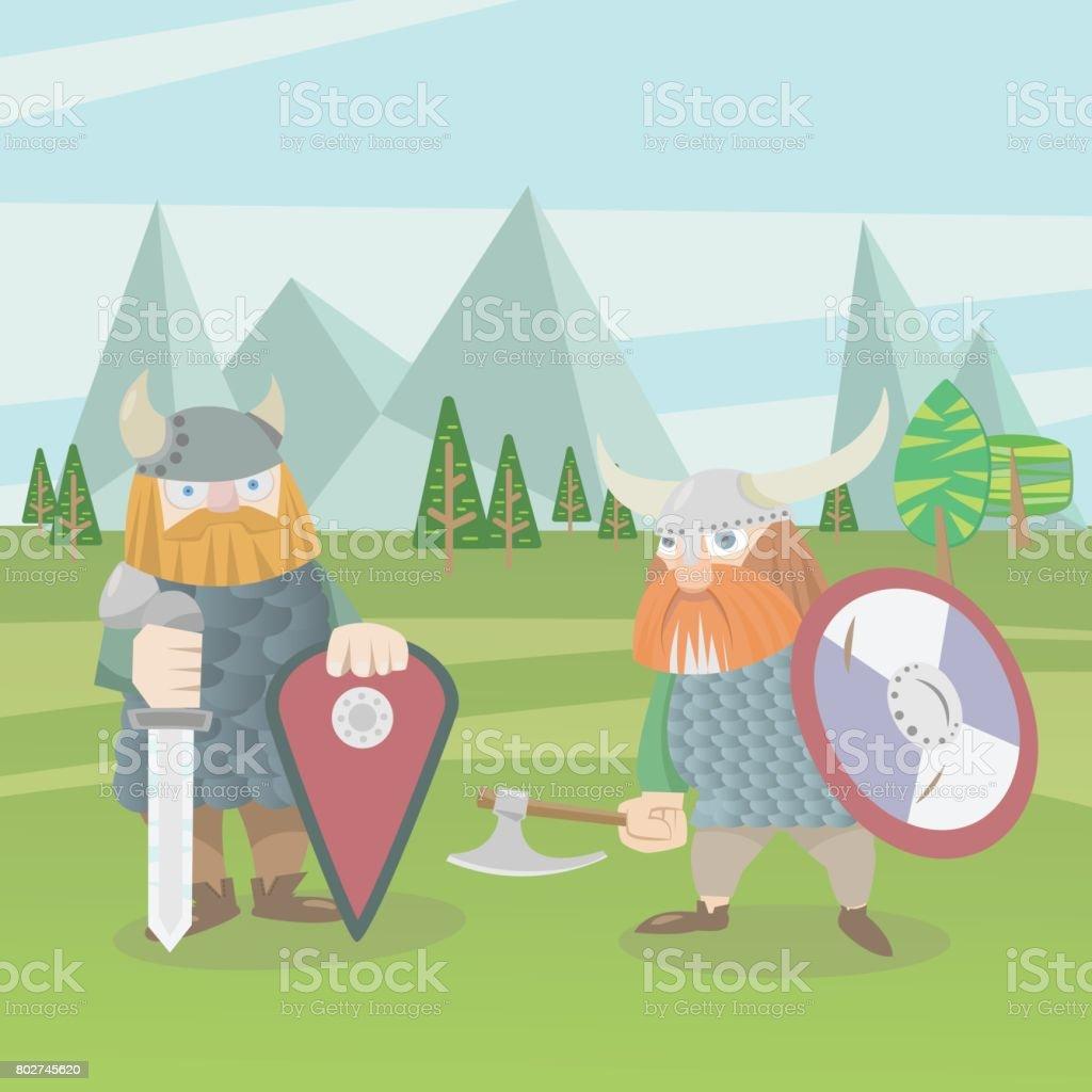 Two viking warriors vector flat style illustration vector art illustration