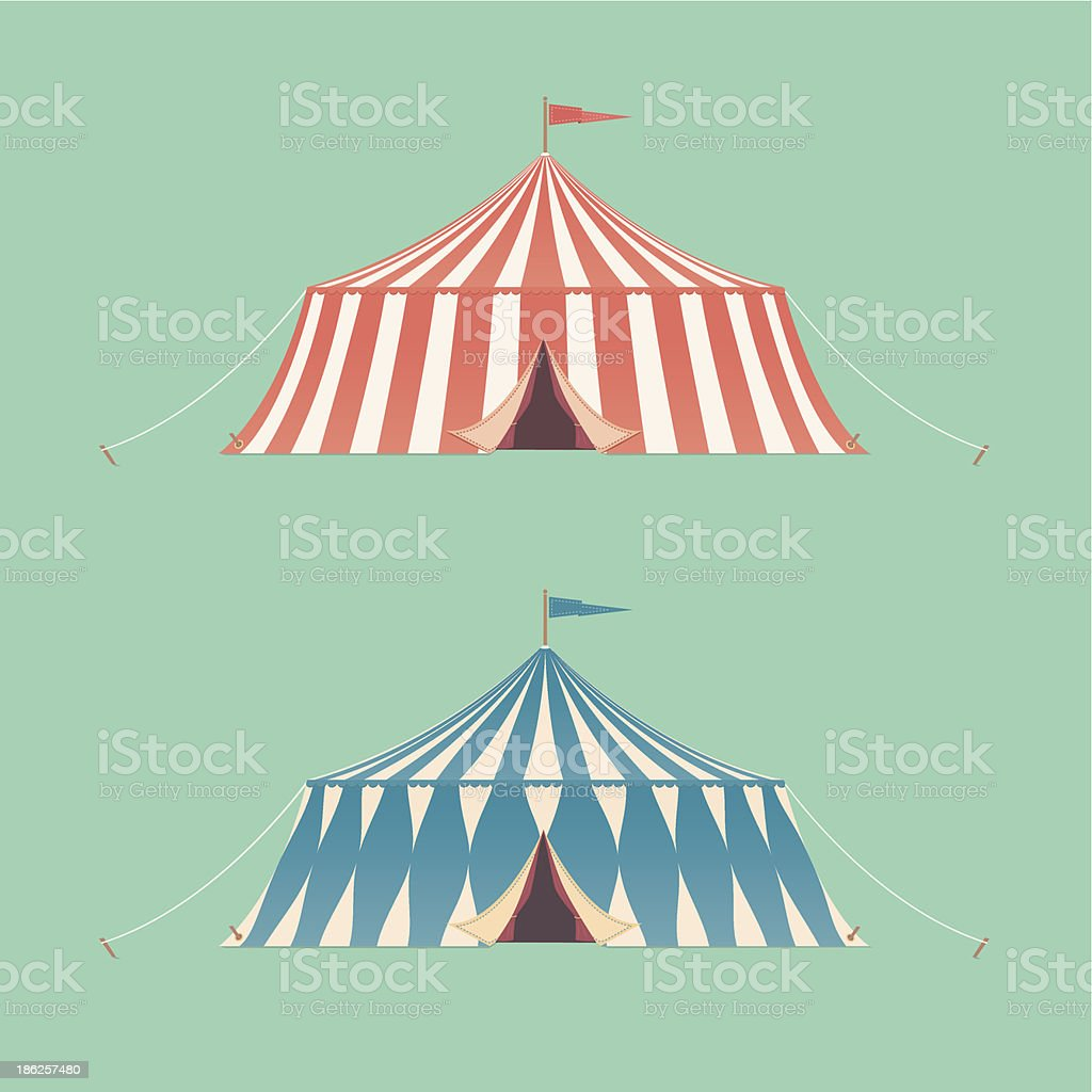 Two Vintage Circus Tents vector art illustration