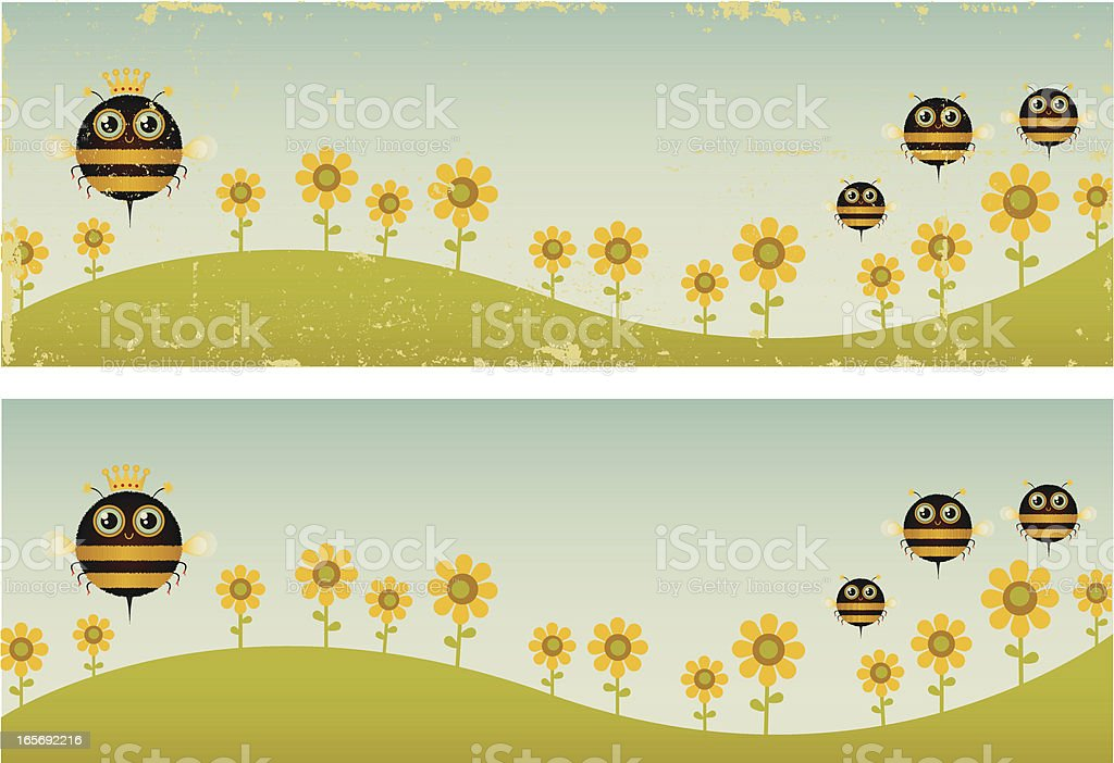 Two Vintage Queen Bee Banners vector art illustration
