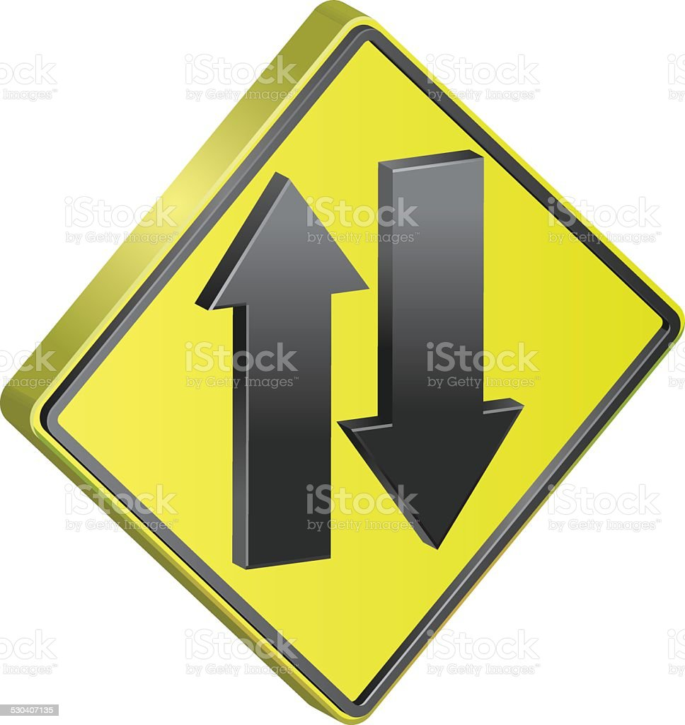 Two Way lane access road sign vector art illustration