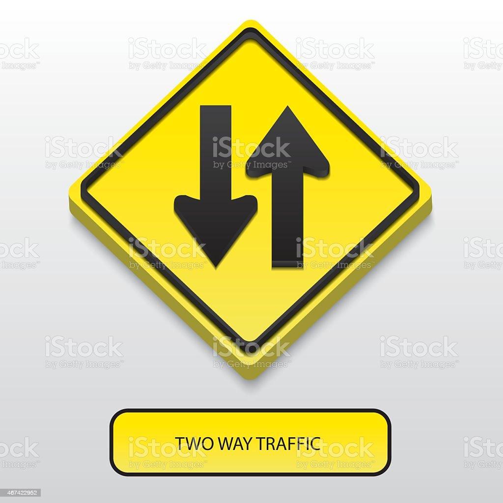 3D Two way traffic sign vector art illustration