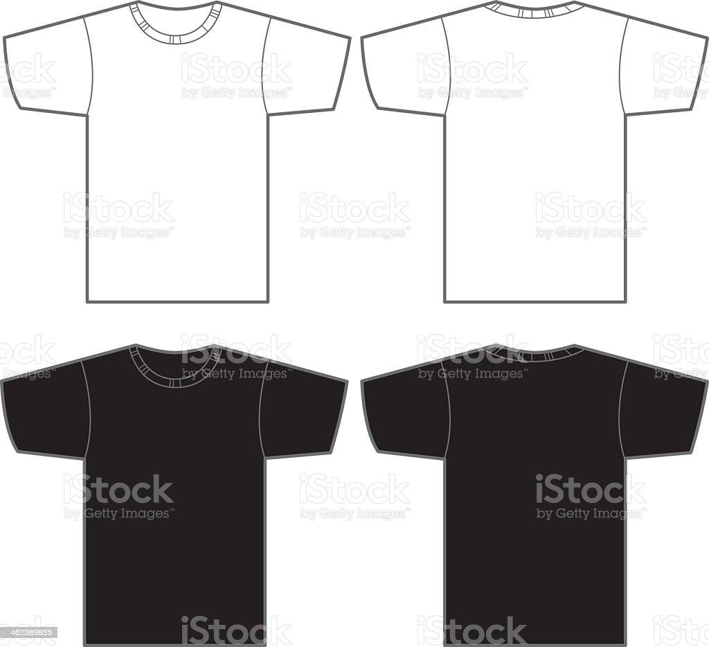 Two white and two black t-shirts vector art illustration