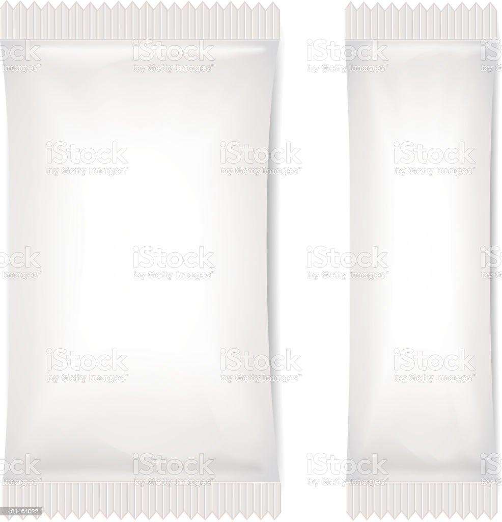 Two White Blank Foil Packaging Sachet Coffee, Salt, Sugar, Pepper vector art illustration