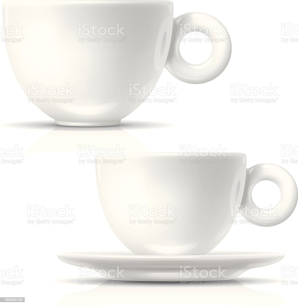 Two white coffee cups on a whiter background vector art illustration