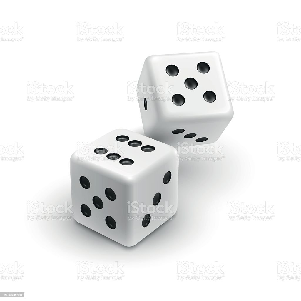 Two white dices casino icon vector art illustration