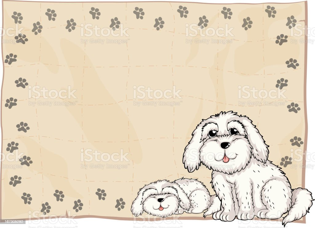 Two white dogs beside a frame royalty-free stock vector art
