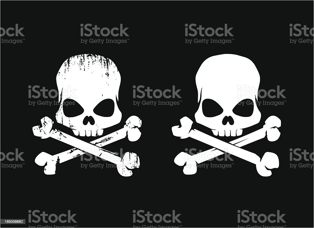 Two white grunge skulls against a black background royalty-free stock vector art
