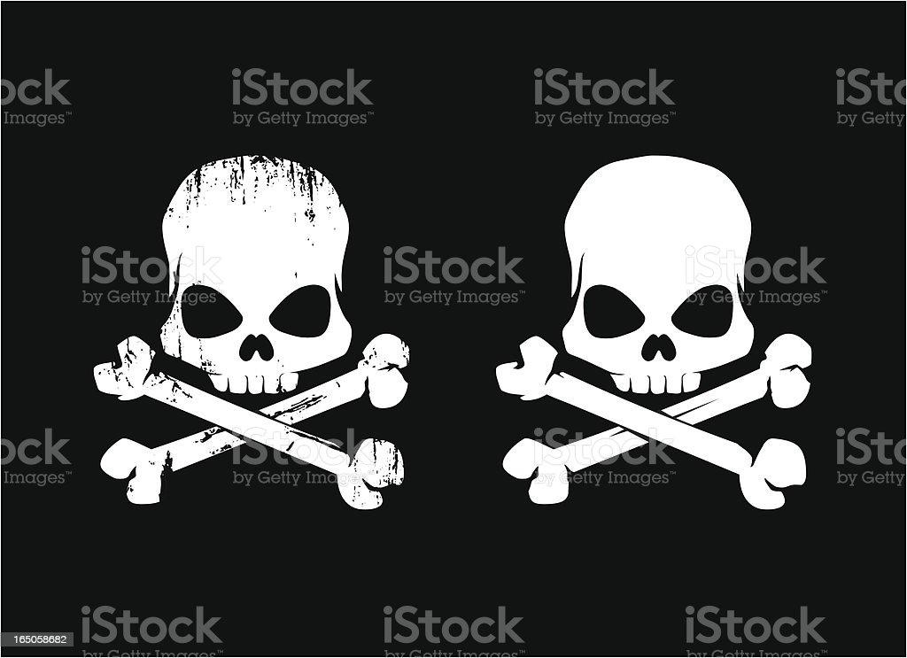 Two white grunge skulls against a black background vector art illustration