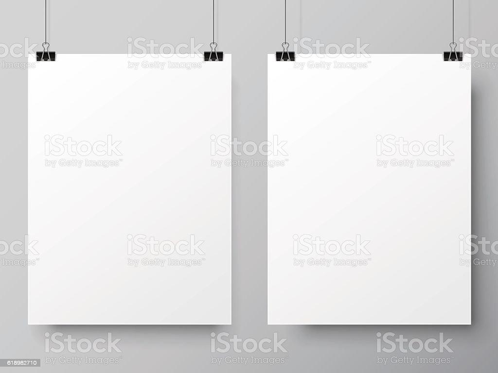 Two White Poster Templates vector art illustration
