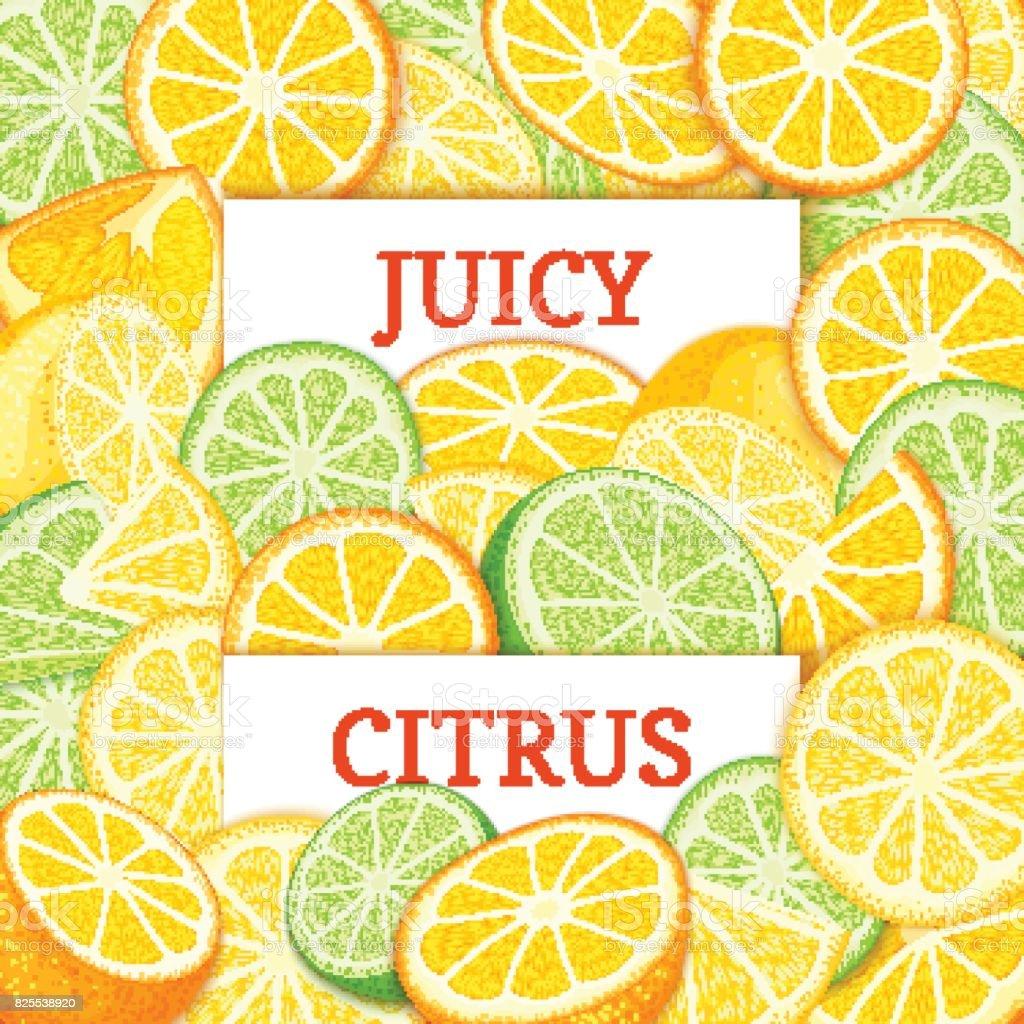 Two white rectangle label on orange lime lemon fruit background. Vector card illustration. Tropical citrus and juicy fruits and slice for design of food packaging juice breakfast detox diet, jam vector art illustration