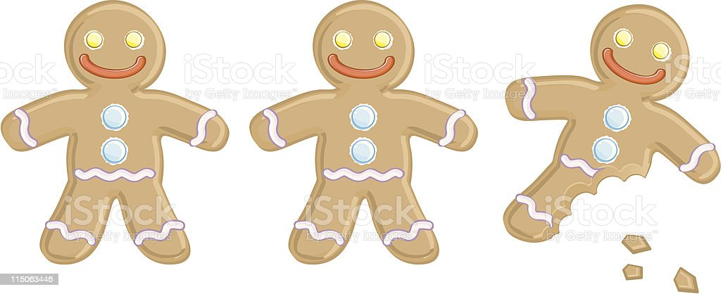 Two whole gingerbread men and one with its left leg bit off vector art illustration