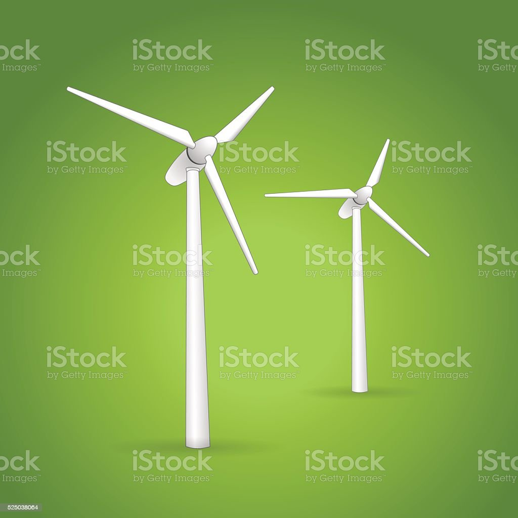 Two wind turbines on a green background vector art illustration