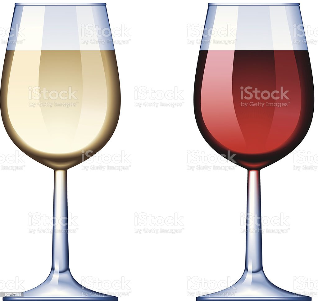 Two wine glasses, one white wine, one red wine vector art illustration