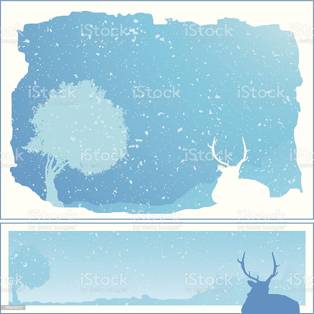 Two Winterframes horizontal royalty-free stock vector art