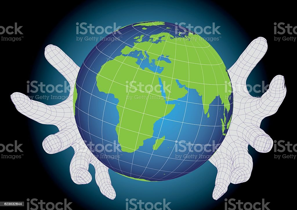 Two wireframe hands protecting earth planet vector art illustration