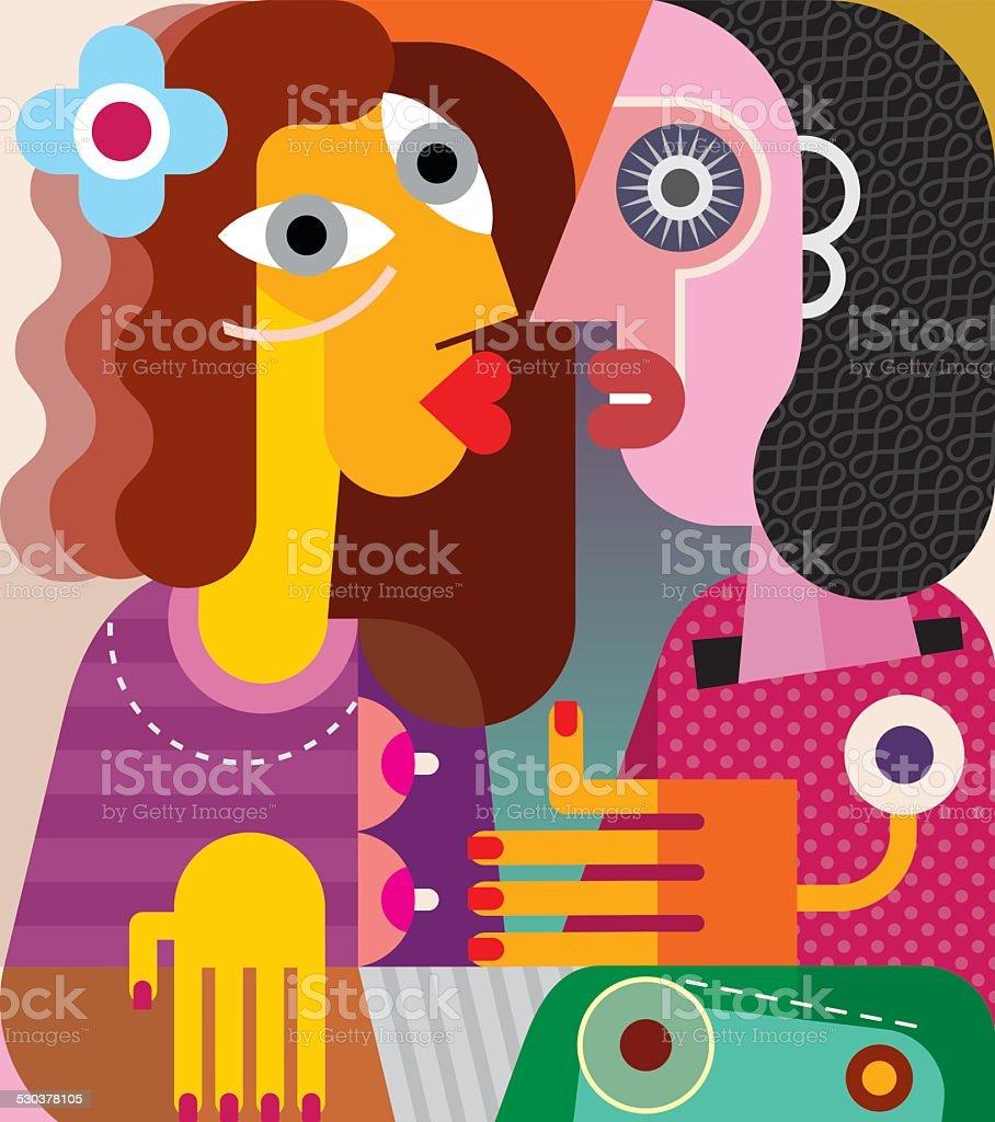 Two women modern art portrait vector art illustration