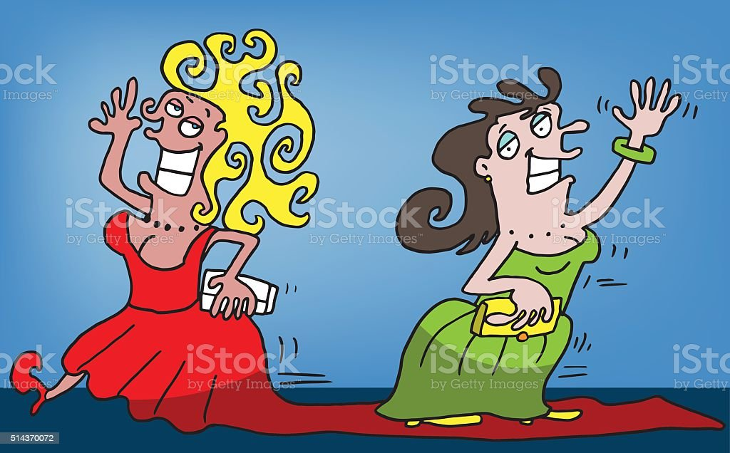 Two women on the red carpet vector art illustration