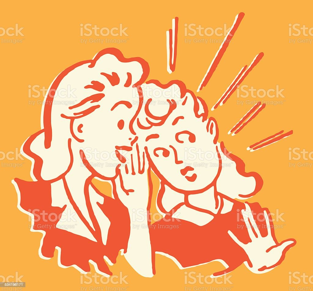 Two Women Talking vector art illustration