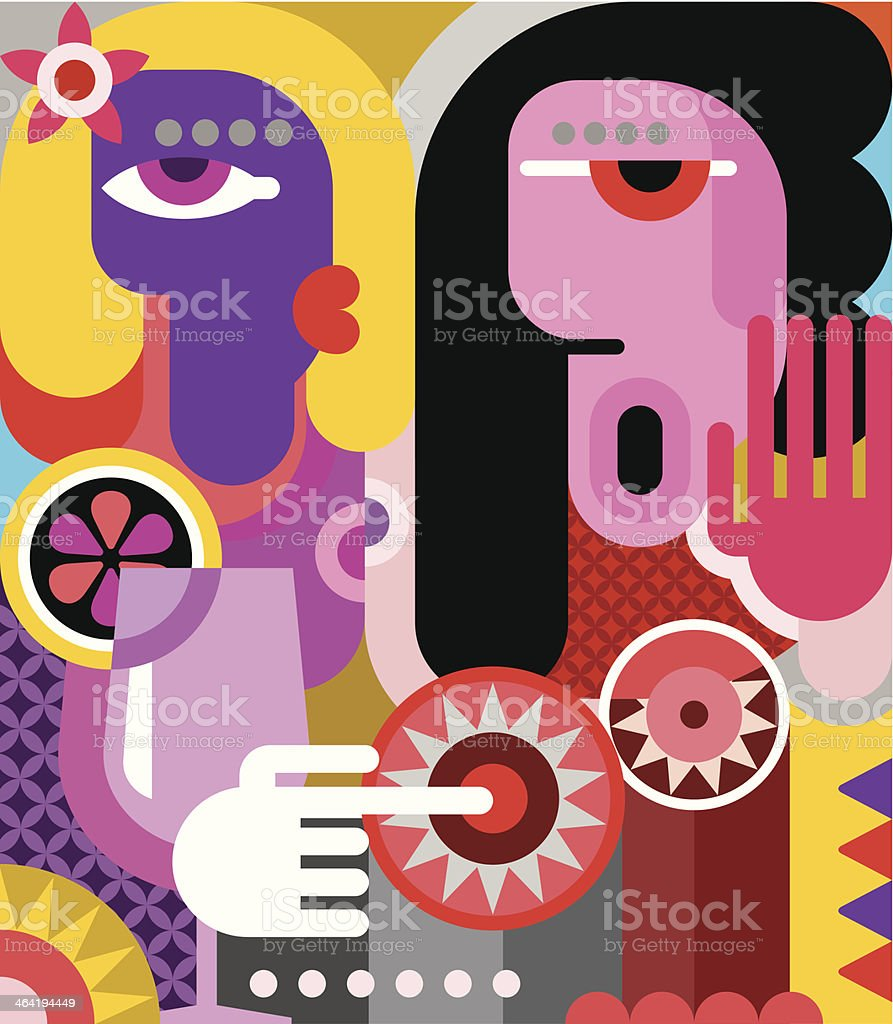 Two women royalty-free stock vector art