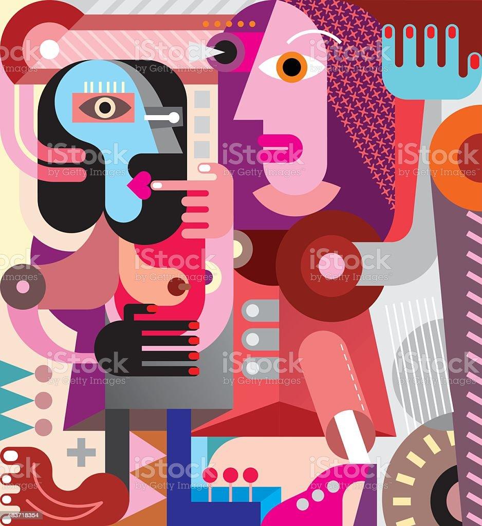 Two Women vector art illustration