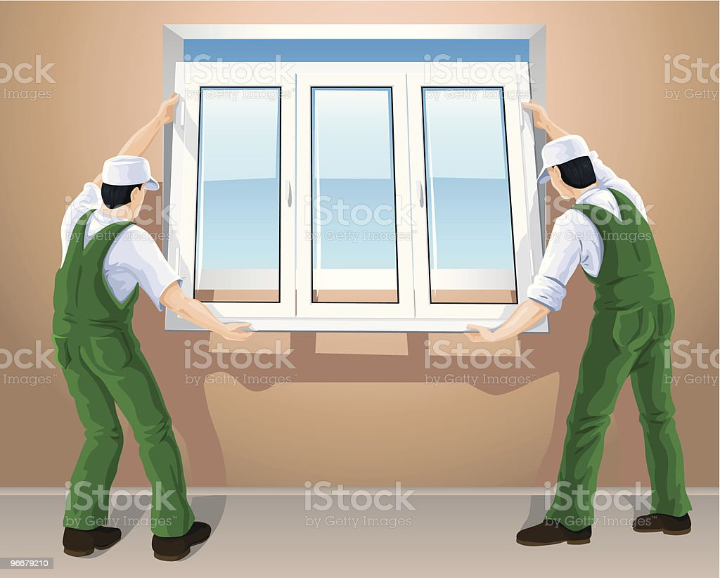 two workers editing new plastic window royalty-free stock vector art