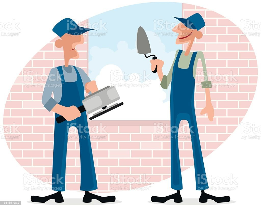 Two workers near window vector art illustration