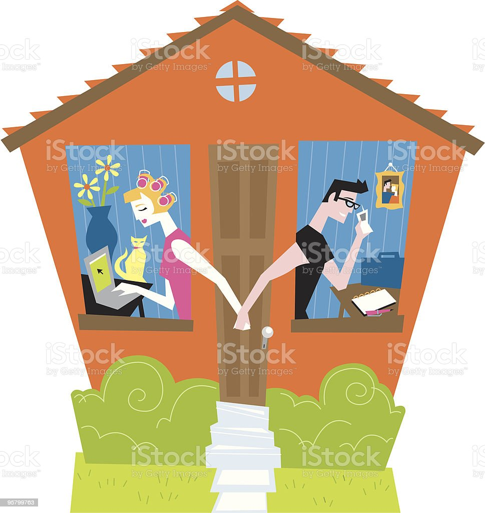 Two working from home vector art illustration