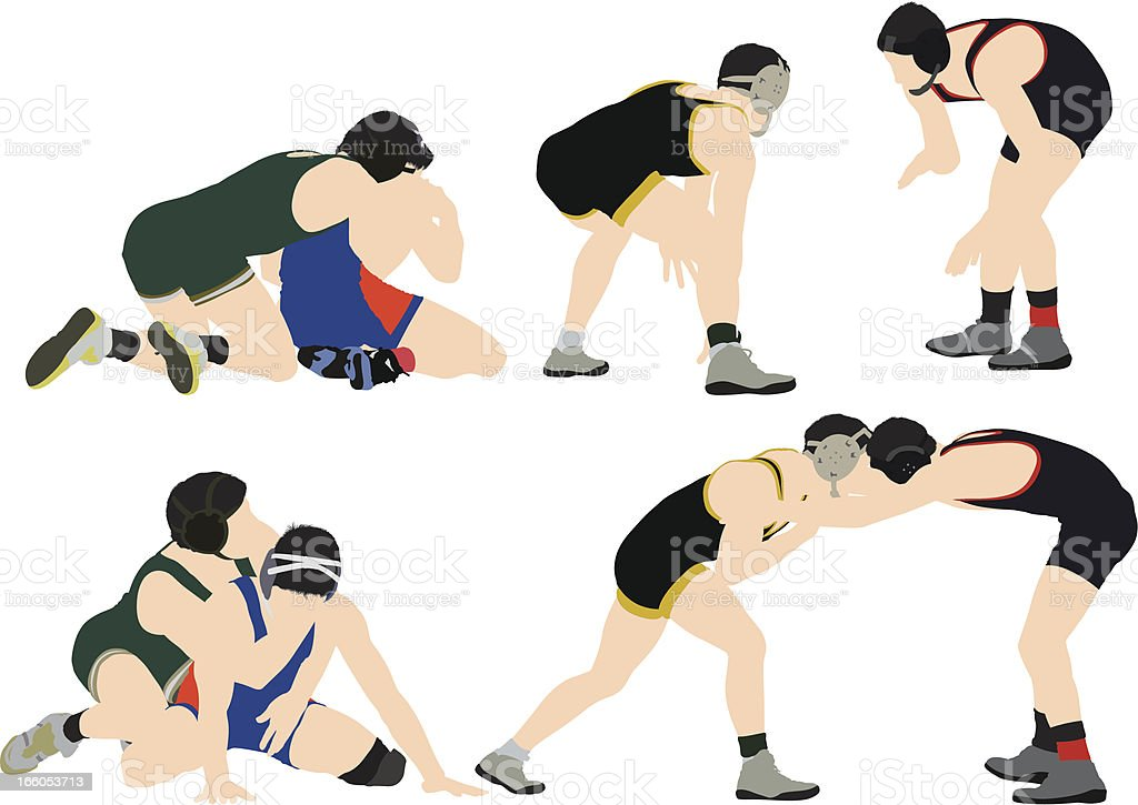 Two wrestlers in action vector art illustration