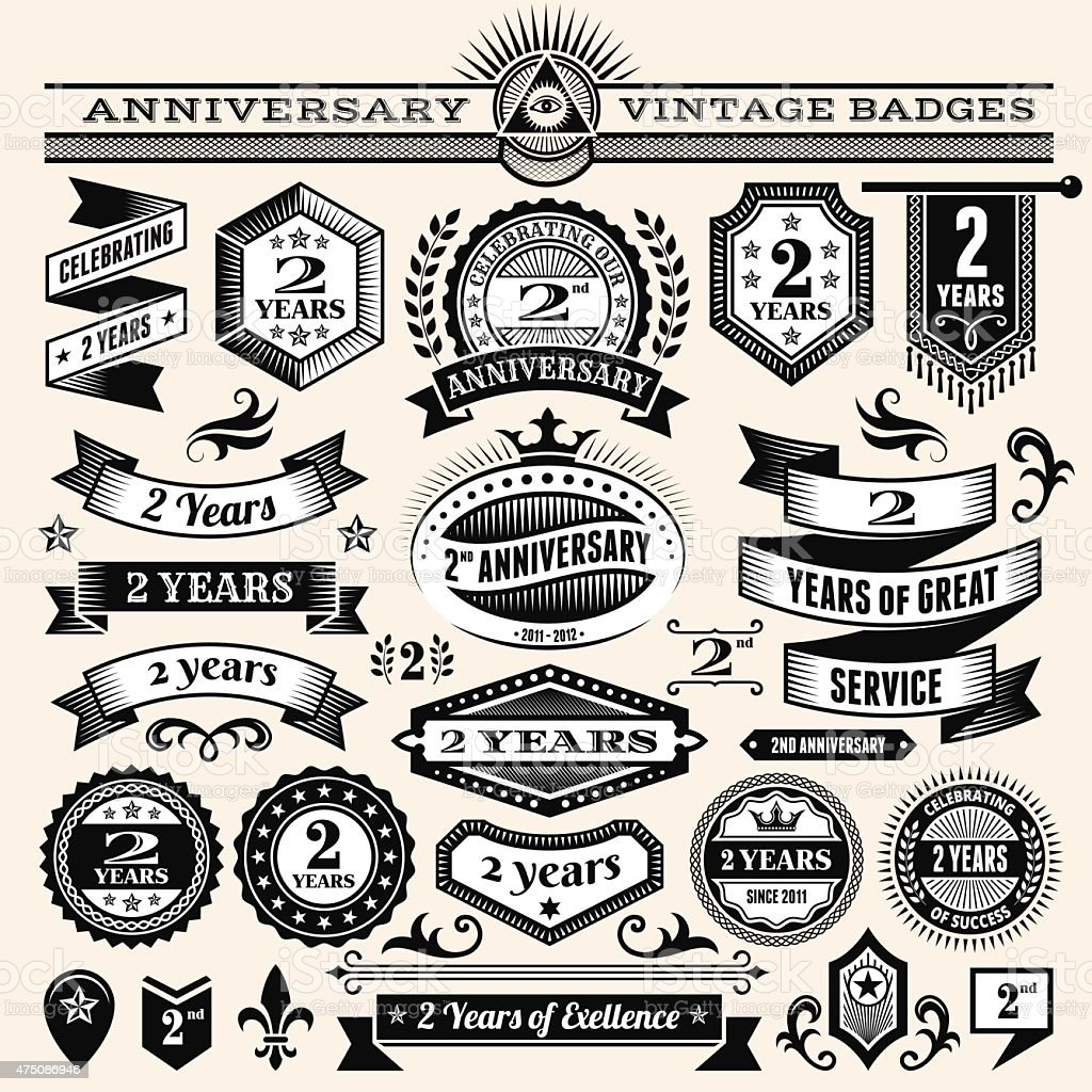 two year anniversary hand-drawn royalty free vector background on paper vector art illustration