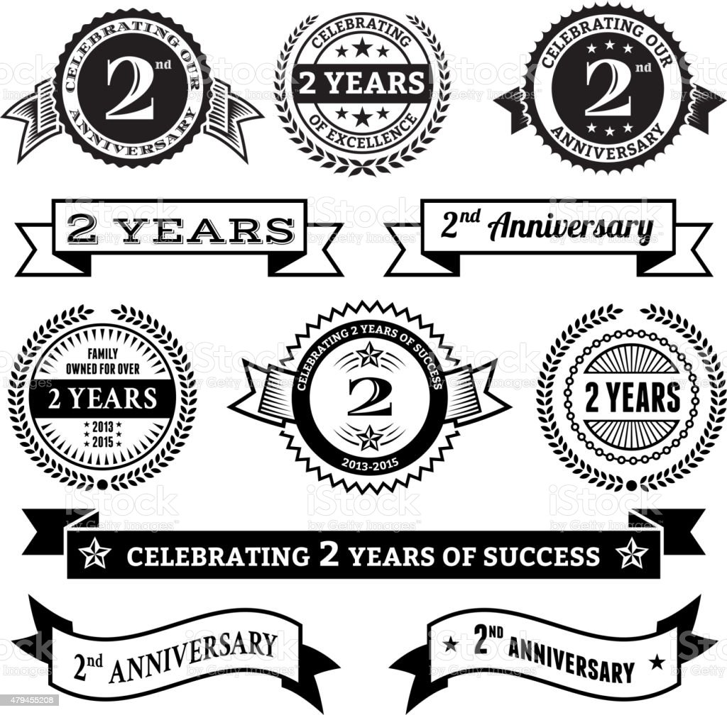Two year anniversary vector badge set royalty free vector background vector art illustration