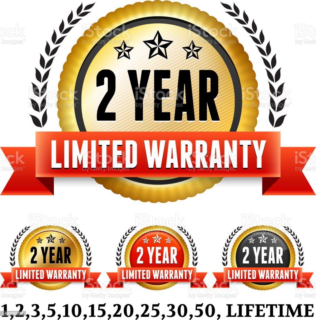 Two Year Limited Warranty Badge Collection royalty-free stock vector art
