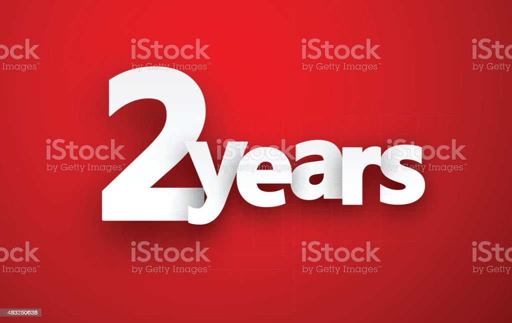 Two years paper sign vector art illustration