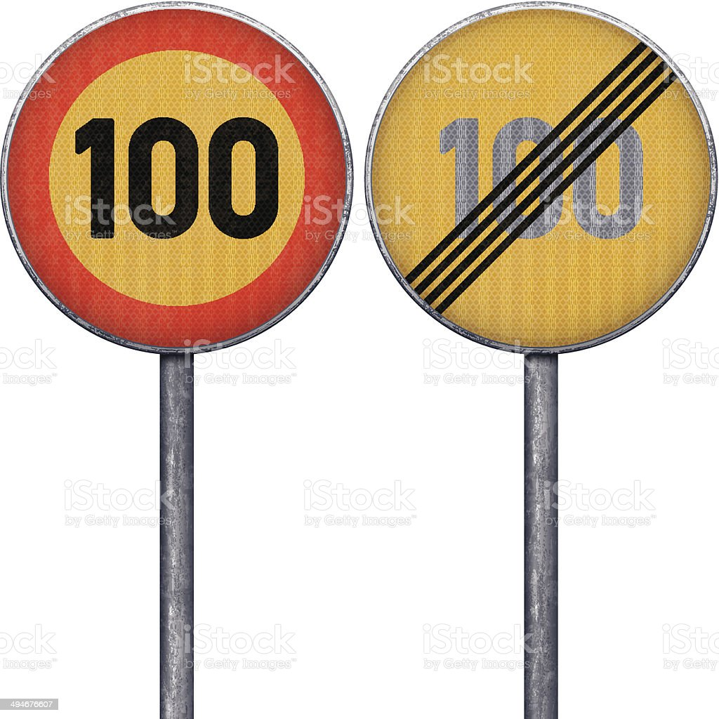 Two yellow and red maximum speed limit 100 road signs royalty-free stock vector art