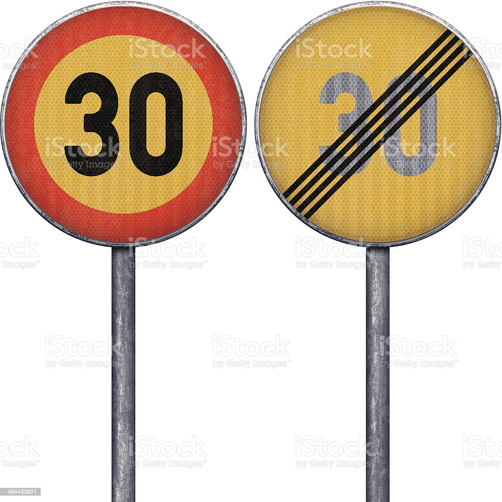 red and yellow speed limit 30 vector art illustration