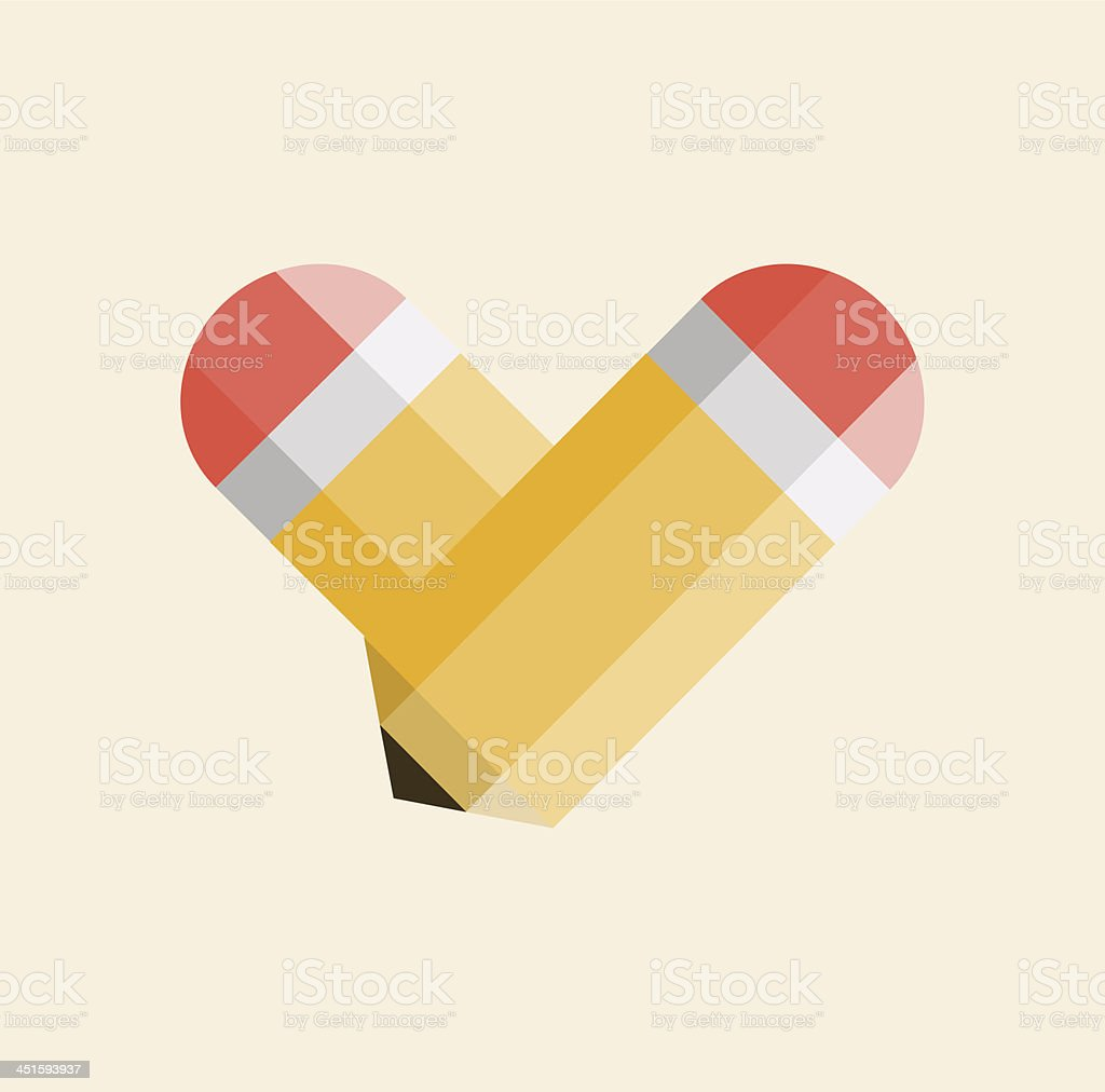 Two yellow pencils forming  shape of a heart royalty-free stock vector art