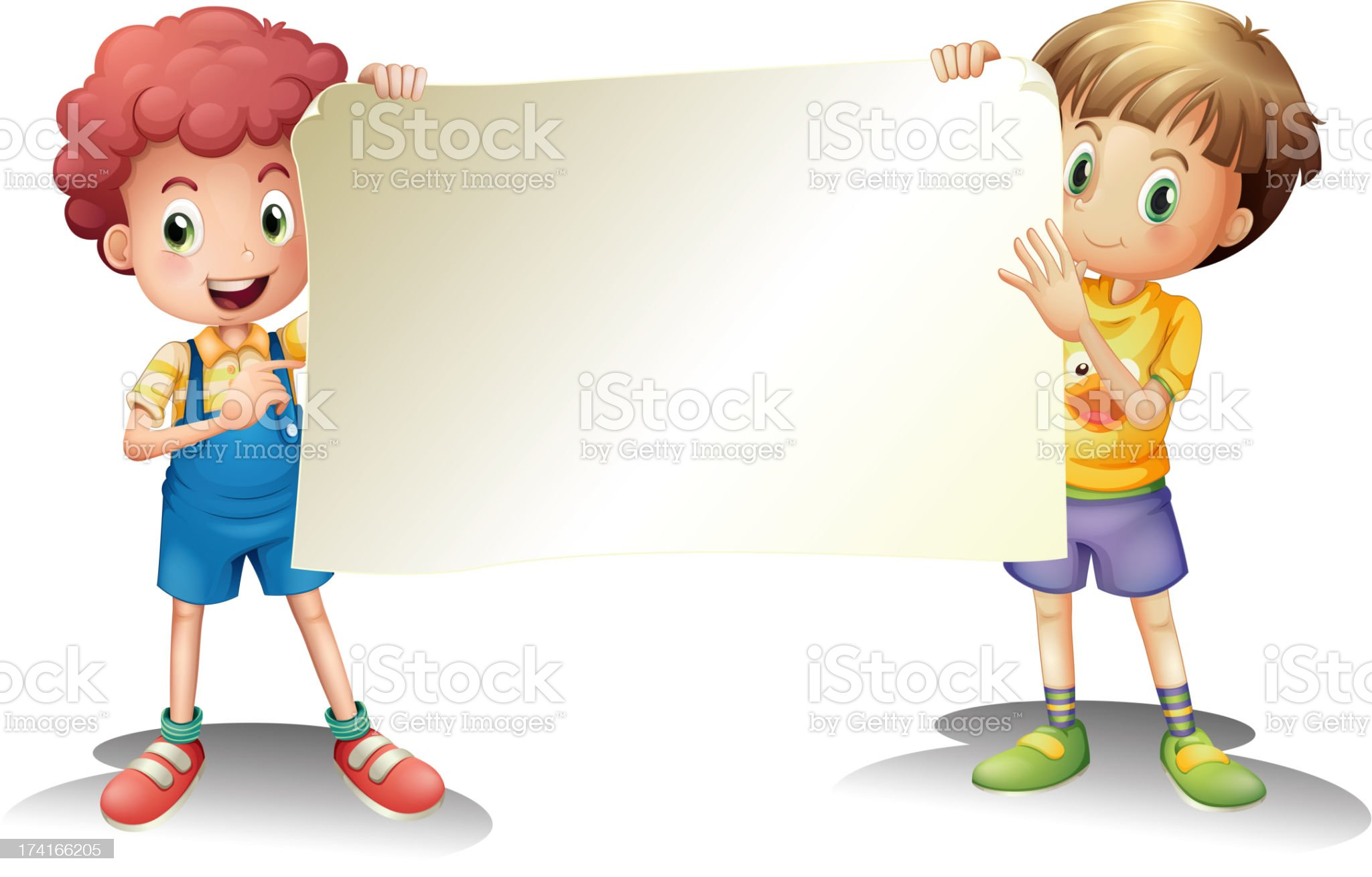 Two young boys holding an empty signage royalty-free stock vector art