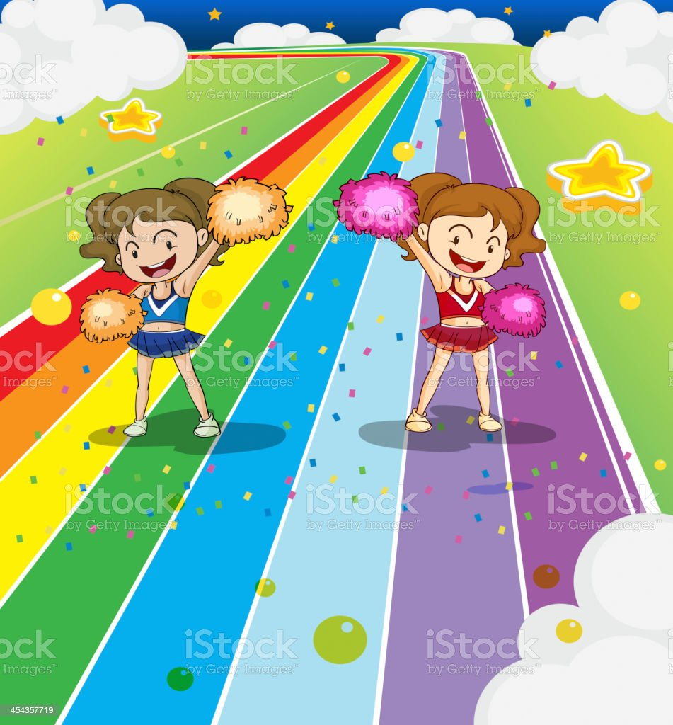 Two young cheerleaders dancing at the colorful road royalty-free stock vector art