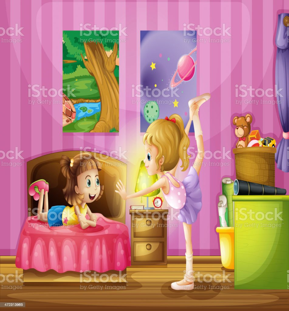 Two young girls inside a bedroom royalty-free stock vector art