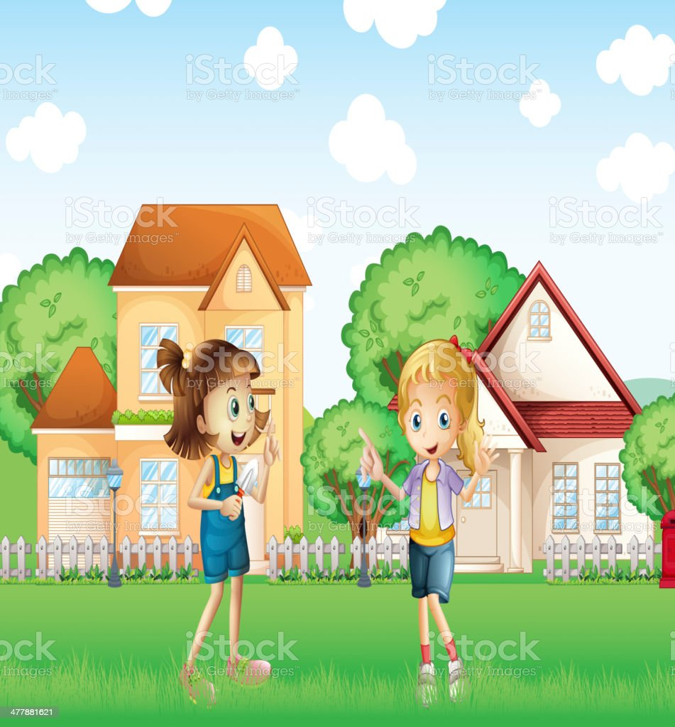 Two young ladies playing in the ground with houses royalty-free stock vector art