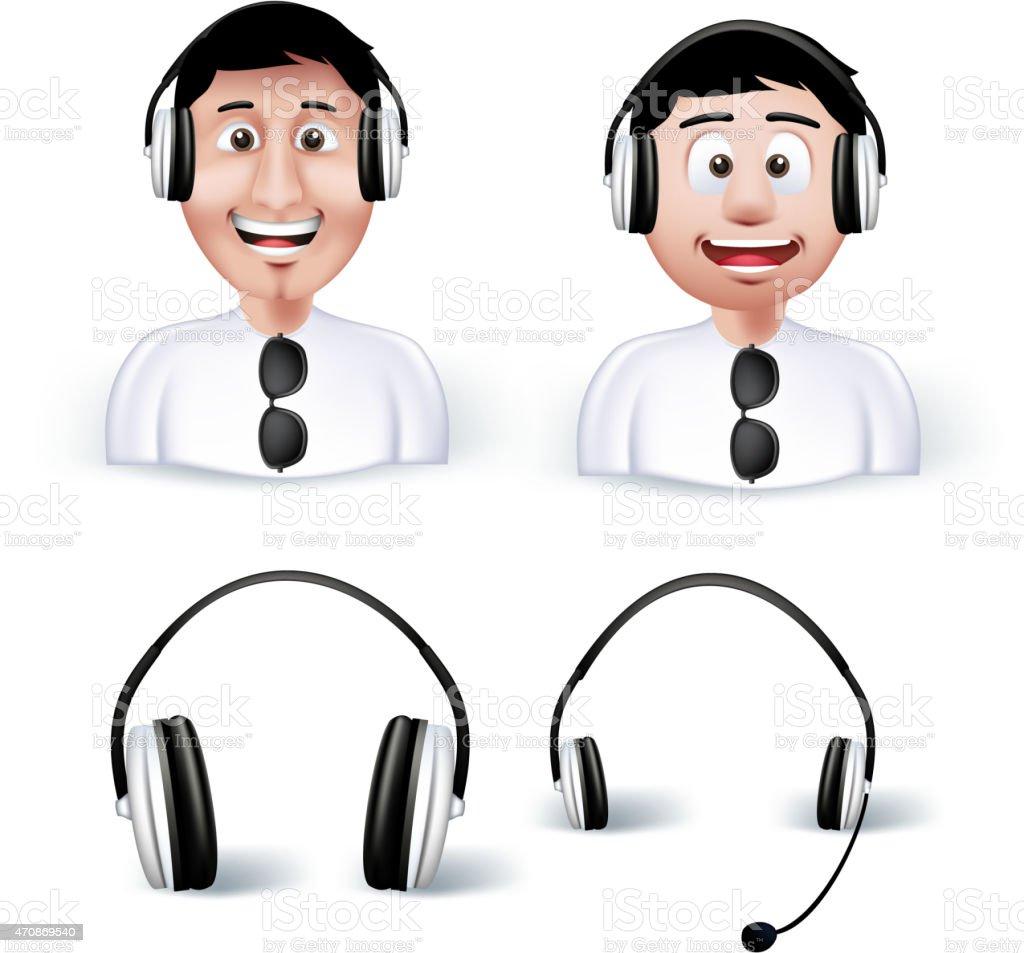 Two Young Man Happy Enjoying Listening Music in Headphones vector art illustration