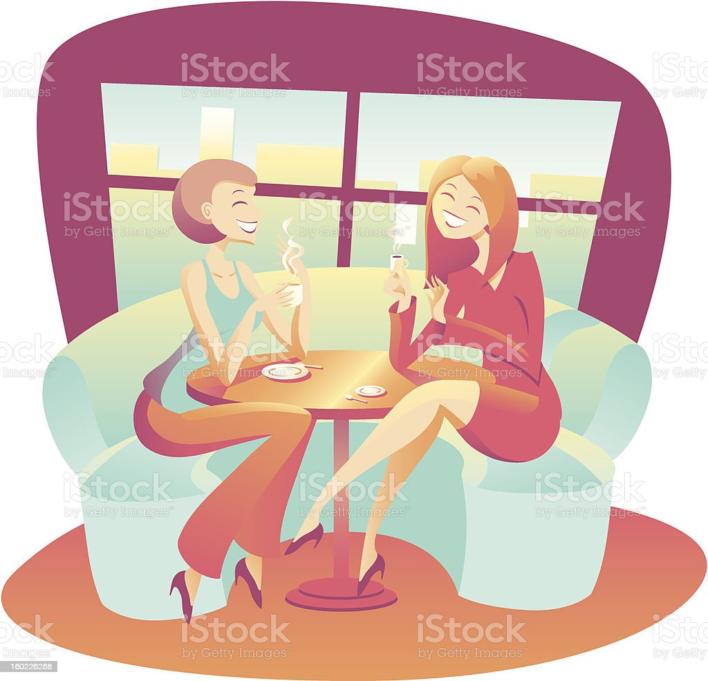 Two young women drinking coffee and tea having a chat stock photo
