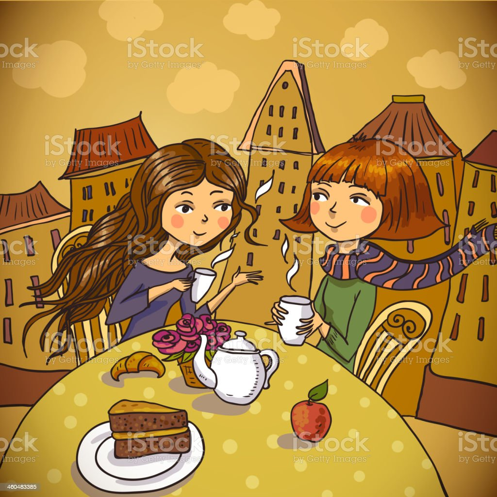 Two young women drinking coffee in cafe vector art illustration