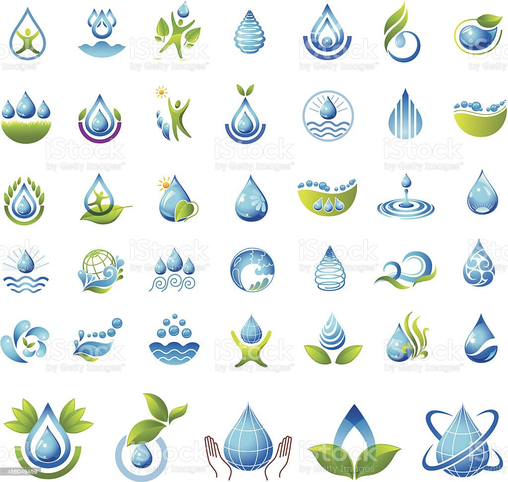 Two-color vector illustration, water icon set vector art illustration