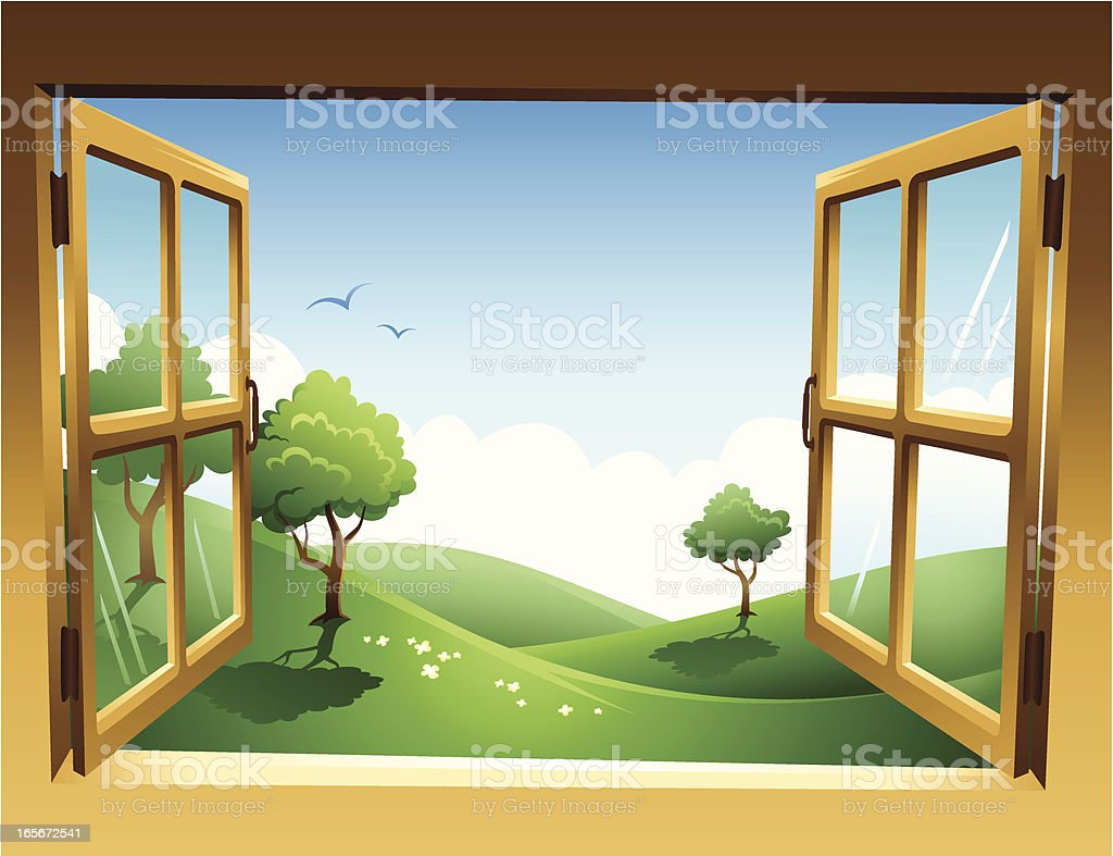 Two-dimensional spring landscape through open window royalty-free stock vector art