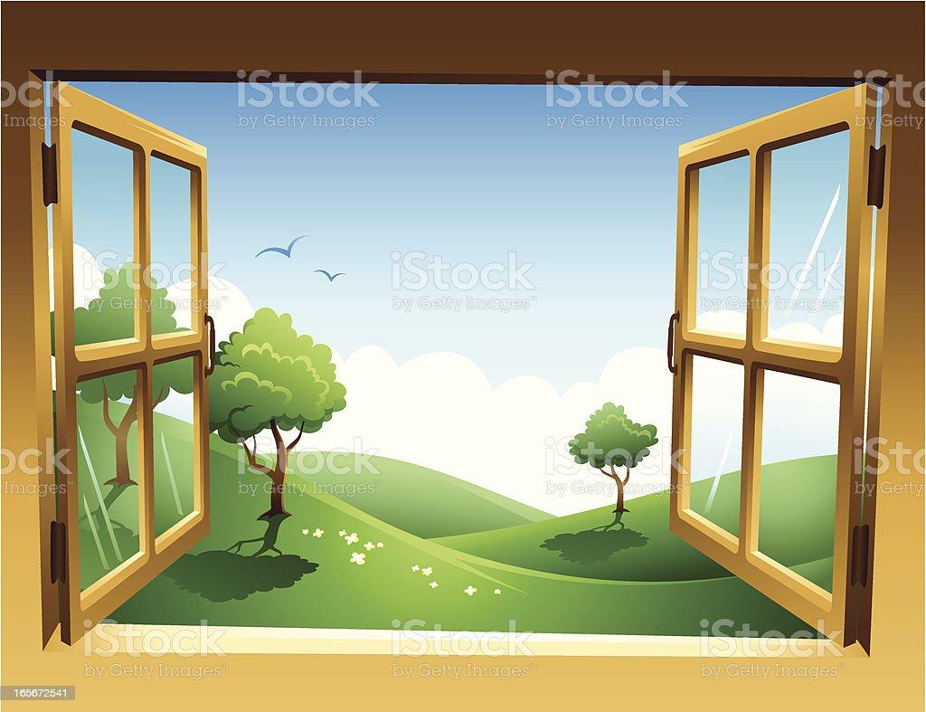 Two-dimensional spring landscape through open window vector art illustration