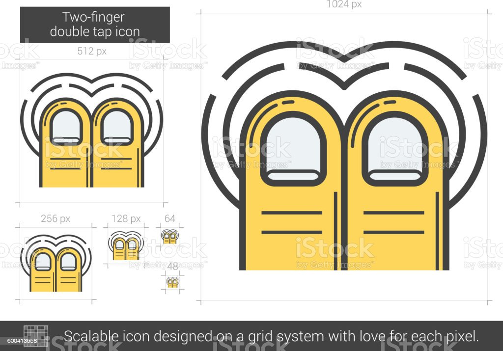 Two-finger double tap line icon. vector art illustration